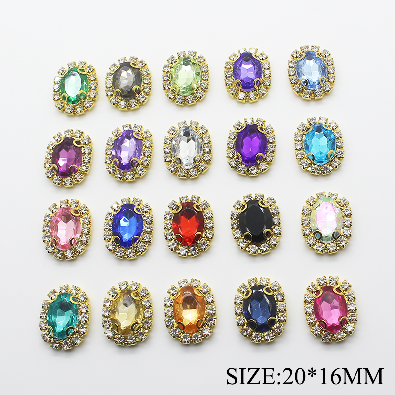 10pcs/lot 20*16MM Gold Oval Jewelry Rhinestone Sanp Flat Back Diamond Buttons For Clothes Decorative Scrapbooking Accessories
