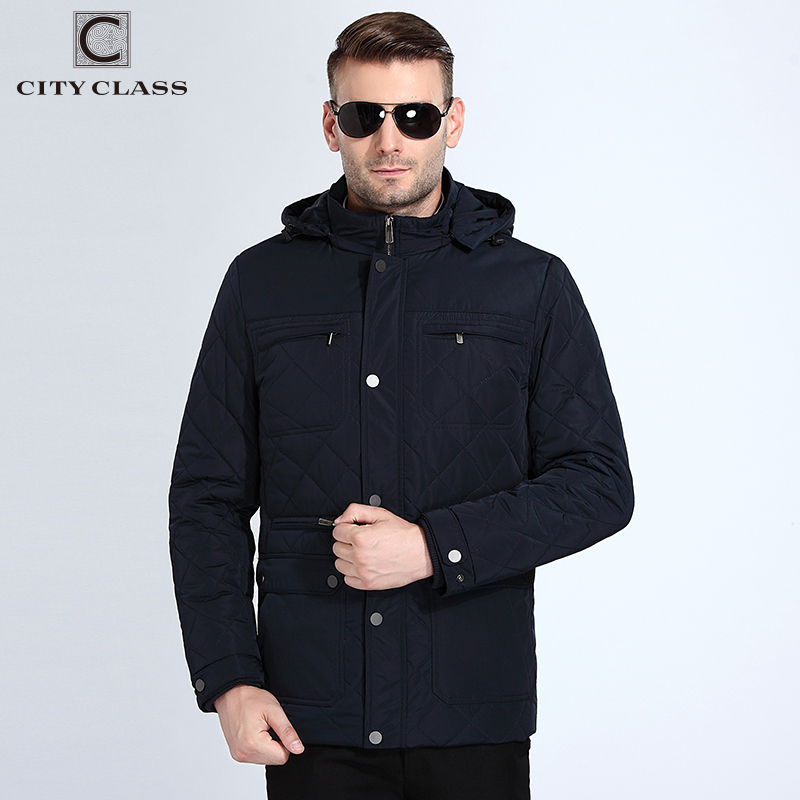 City Class 2018 Autumn Jackets Coats Hat Detachable Warm   Parkas   Fashion Windproof Cotton Padded Jaqueta Masculina Inverno 18011