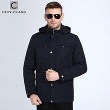City clase 2018 otoño Chaquetas Abrigos sombrero desmontable Parkas moda a prueba de viento algodón acolchado jaqueta masculina inverno 18011