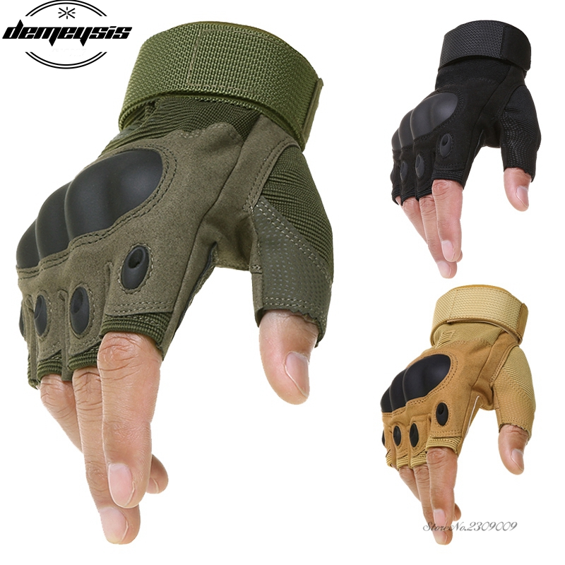 Tactical Army Bicycle Outdoor Gloves Paintball Airsoft Motorcross Shooting Fingerless Glove Carbon Knuckle Half Finger Gloves