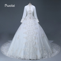 Real Luxury Muslim Ball Gown Wedding Dress High Neck Long Sleeves Satin Top Beaded Tulle With