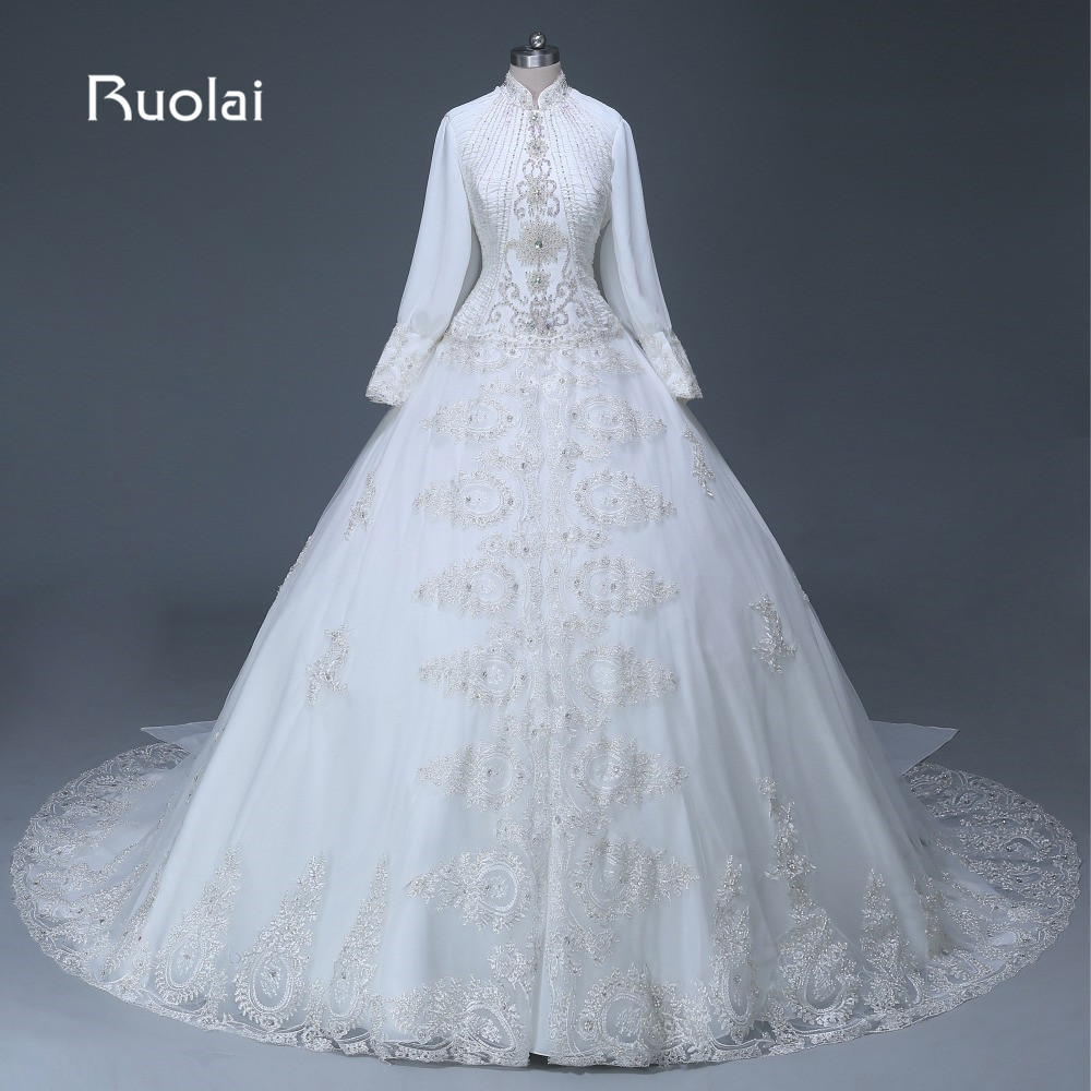 Real Luxury Muslim Ball Gown Wedding Dress High Neck Long Sleeves ...