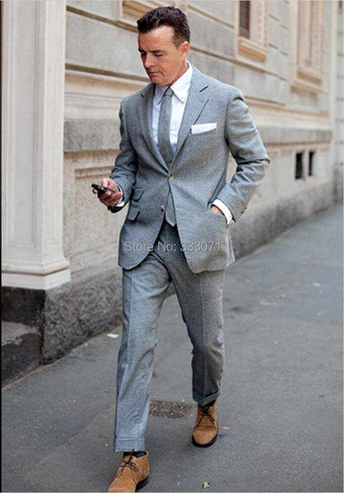 autumn light gray tweed casual man suit slim fit groom tuxedos 2 piece wedding suits for