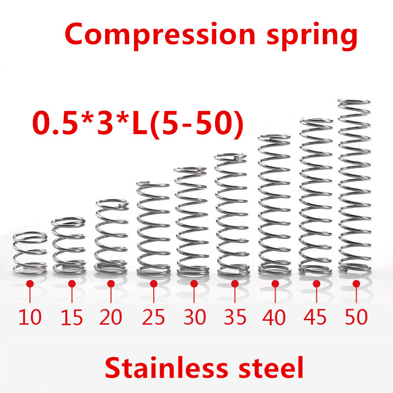 50pcs/lot 0.5*3*5/10/15/20/25/30/35/40/45/50mm spring 0.5mm stainless steel Micro small Compression spring image
