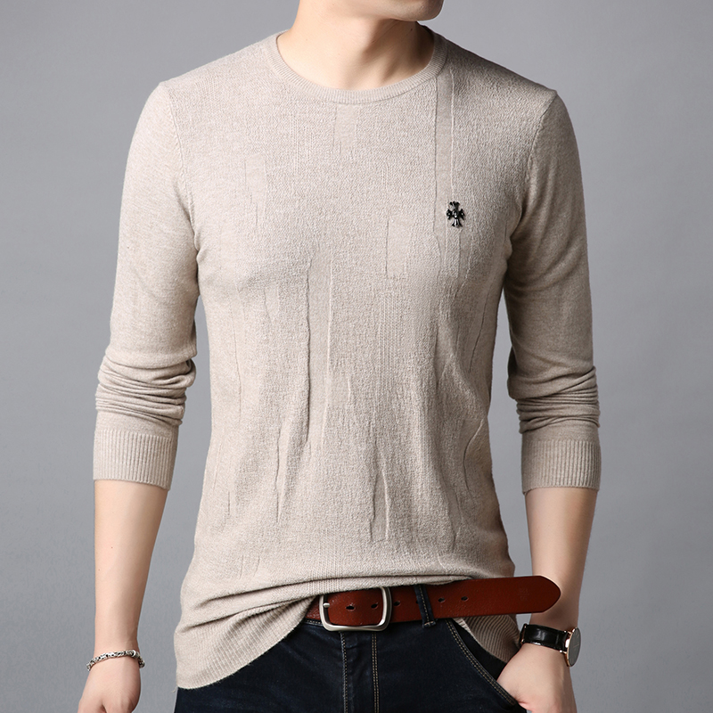 2019 New Fashion Brand Sweater Mens Pullovers Warm Slim Fit Jumpers Knitred Solid Color Autumn Korean Style Casual Men Clothes