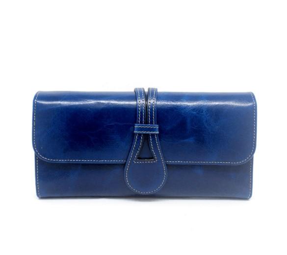 genuine leather oil wax multi folder solid wallet long purse for women