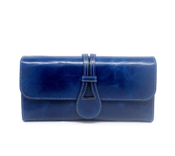 Echt leer olie wax multi map effen portemonnee lange portemonnee voor vrouwen-in Portemonnees van Bagage & Tassen op  Groep 1