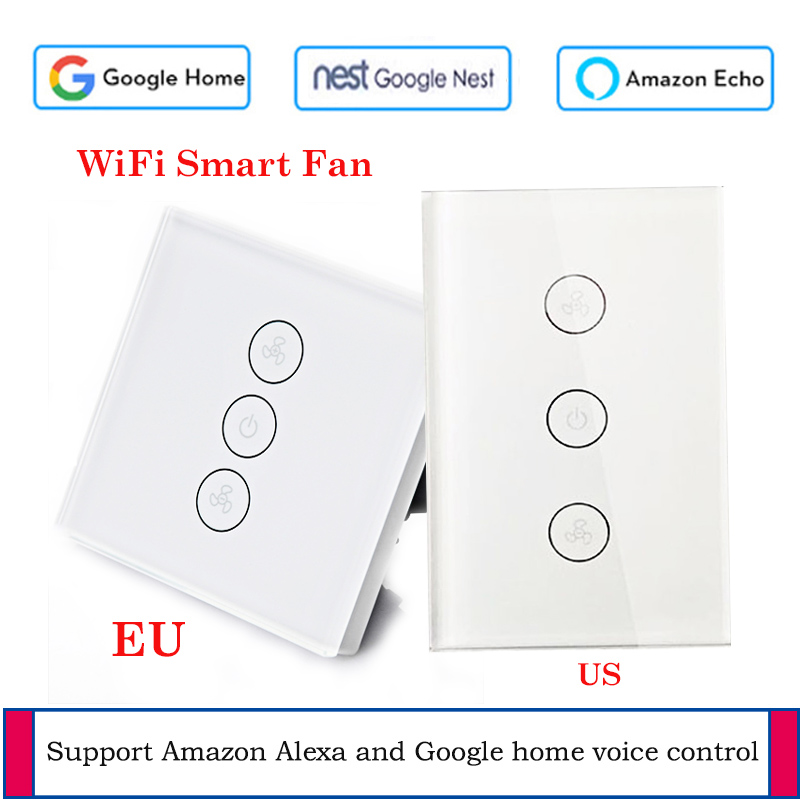 EU/US WiFi Celling Fan switch Glass panel App remote control Smart home with Google and Alexa support voice