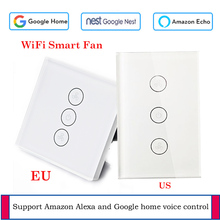 EU/US WiFi Celling Fan switch Glass panel switch App remote control Fan Smart home with Google and Alexa support voice control wifi intelligent remote control touch switch alexa voice control app remote control smart switch