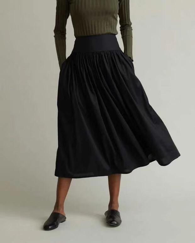 Noir Nerola Midi jupe taille haute avec poches femme mode Design a ligne plissée jupe 2019 nouveau-in Jupes from Mode Femme et Accessoires    2