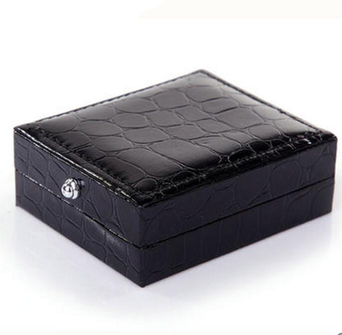 120pcslot Black Square cufflinks boxes Crocodile Leather surface Cuff Link Storage Holder Box Men's Jewelry Packing Gift Box