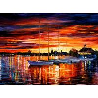 Contemporary Art Helsinki Sailboats At Yacht Club Hand Painted Knife Paintings Landscape Oil On Canvas High