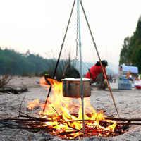 Camping en plein air pique-nique cuisson trépied Pot suspendu Durable Portable feu de camp pique-nique Pot en fonte grille de feu suspendu trépied