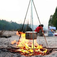 Camping en plein air pique-nique cuisson trépied Pot suspendu Durable Portable feu de camp pique-nique Pot en fonte grille de feu suspendu trépied(China)