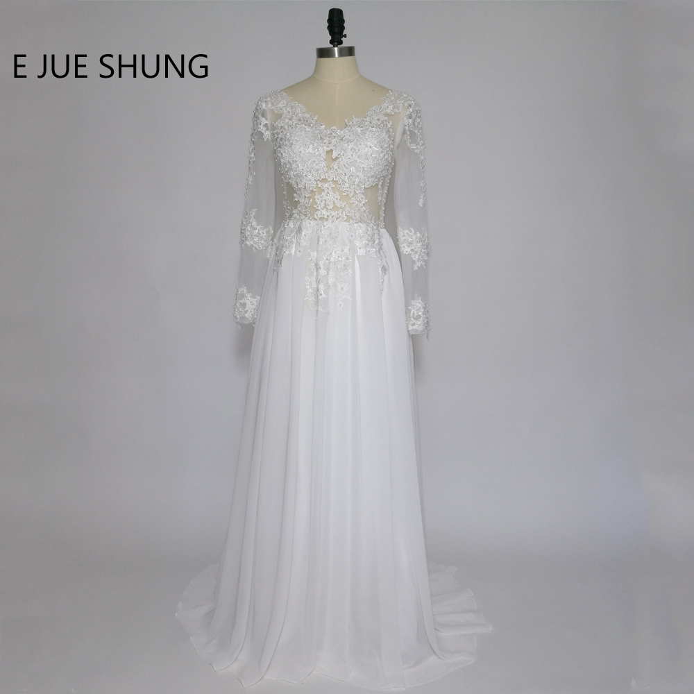 E JUE SHUNG Ivory Lace Appliques Pearls Beach Wedding Dresses 2017 Long Sleeves Backless Wedding Gowns vestido de noiva