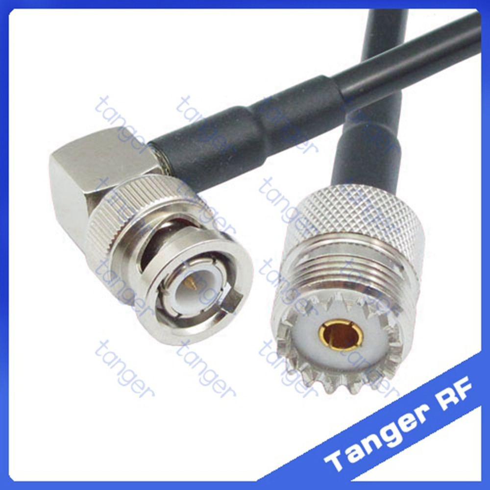 Hot Selling Tanger BNC male plug right angle to UHF female jack SO239 RF RG58 Pigtail Jumper Coaxial Cable 20inch 50cm New