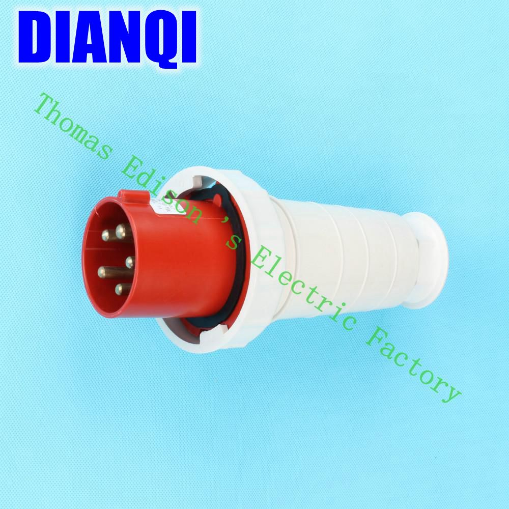 Industrial Plug Socket Coupler 035 CNQD-035 Red 63A 220V~415V 3P+E+N 5pin 10PCS/carton high quality ac 360 415v 16a ie 0140 4p e free hanging industrial plug red white