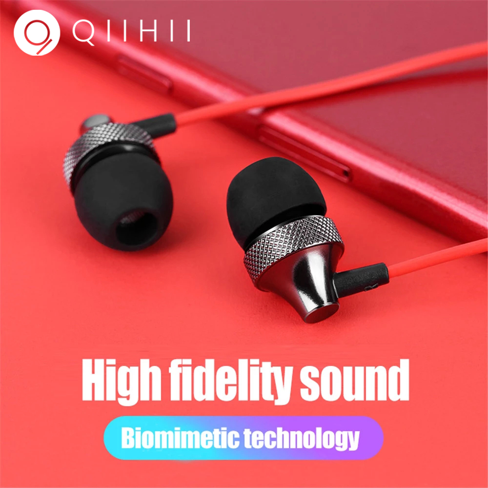 QIIHII Hifi Ear Phones For Smartphone Sport Earbuds Earphones With Microphone Noise Canceling Headphone In Headphones
