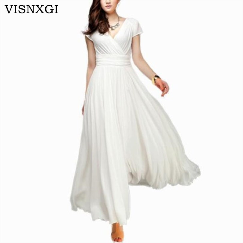 VISNXGI Women Long Maxi Dresses Bohemia V neck Short Sleeve Chiffon Summer Female Club Dress Vestidos Plus Size S 5XL Clothes-in Dresses from Women's Clothing on AliExpress - 11.11_Double 11_Singles' Day 1