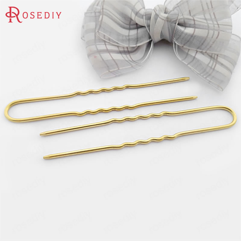 (30552-2)10PCS 100x14MM,Wire Thickness 2MM Not plated color Brass Hair Rod Hair Sticks Hairpin Diy Jewelry Findings Accessories