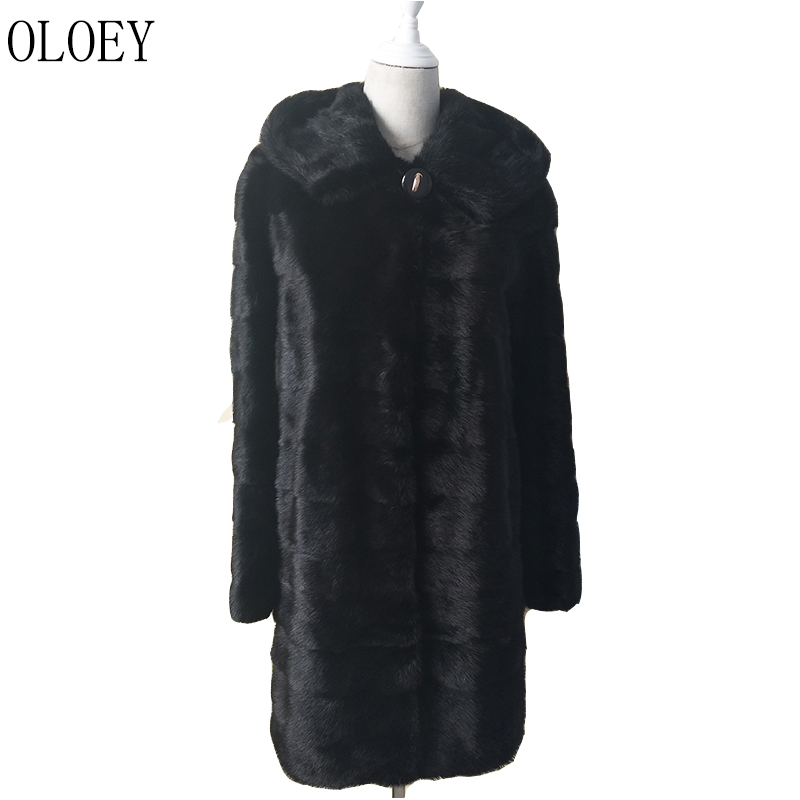 OLOEY Natural Real Mink Fur Coat Russian Women's Winter Warm Long Coat with Hat and Sleeves 100% Natural Color Mink Fur Coat fur contrast color men s cotton coat with hat