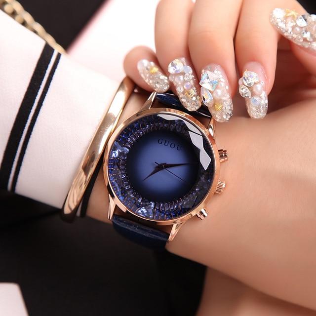 GUOU Women's Watches Top Brand Luxury Diamond Watch Women Watches Genuine Leathe