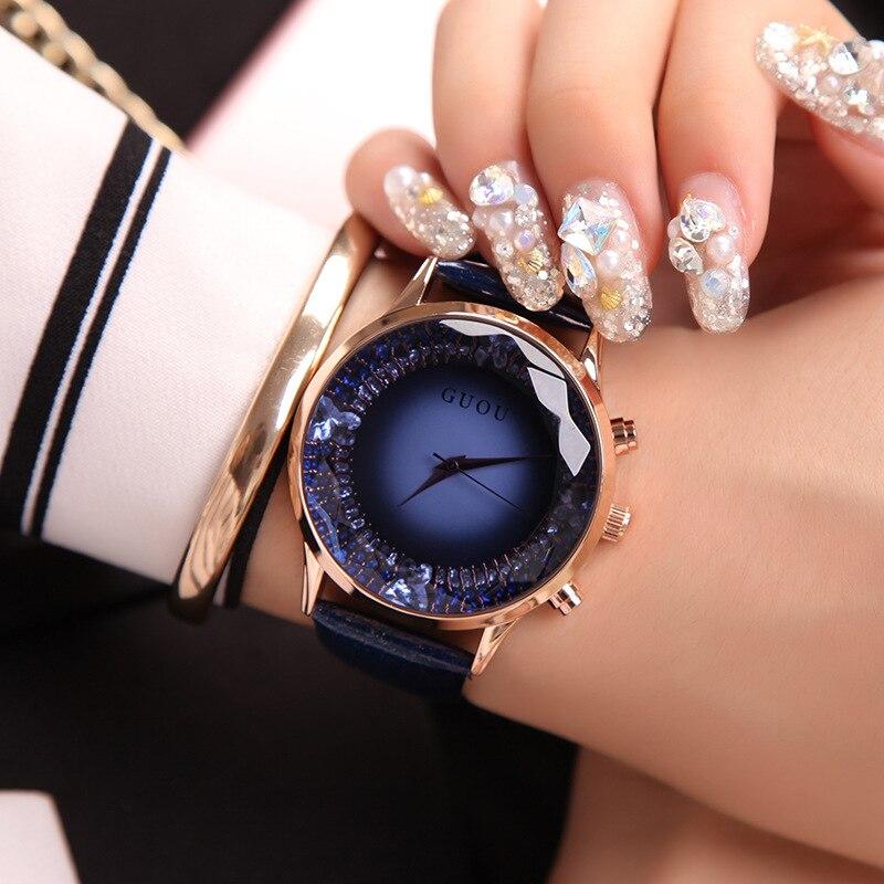 Relojes de mujer GUOU relojes de lujo de marca Superior de Diamantes relojes de mujer reloj de cuero genuino para mujer reloj saat relogio femenino reloj