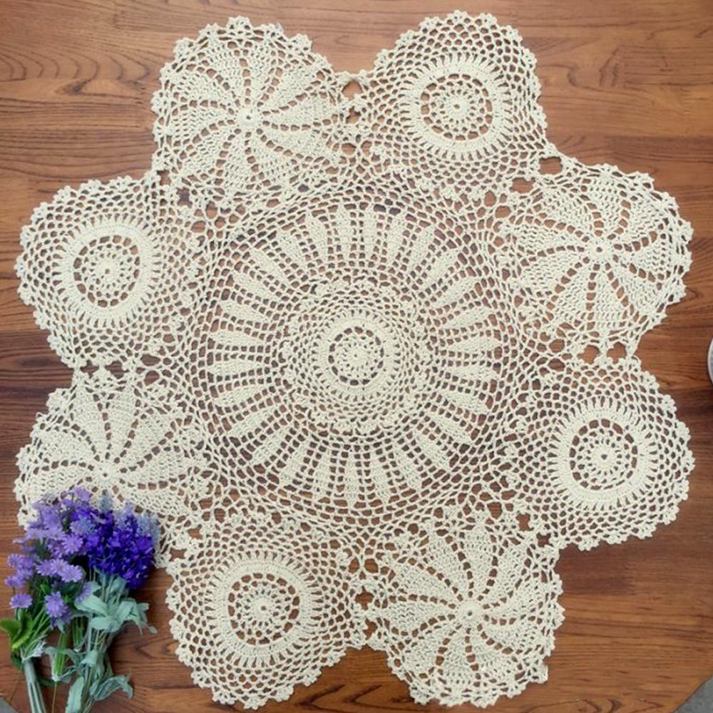 Yazi Crocheted algodón hueco Floral manteles hechos a mano ronda ...