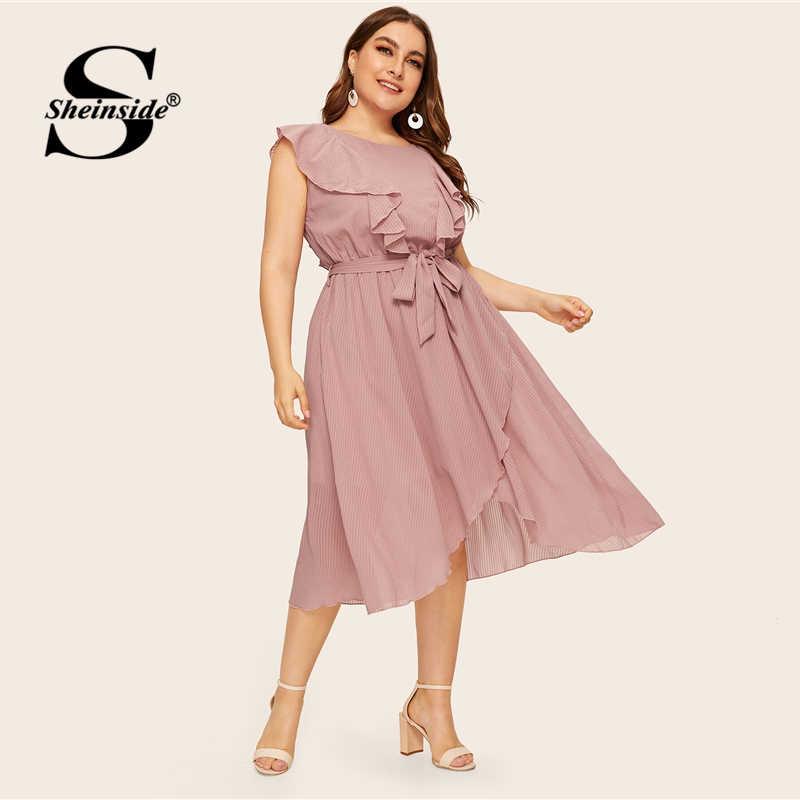 Sheinside плюс размер элегантное розовое платье с оборками Асимметричная обертка женское летнее платье 2019 без рукавов с поясом сплошное шифоновое платье
