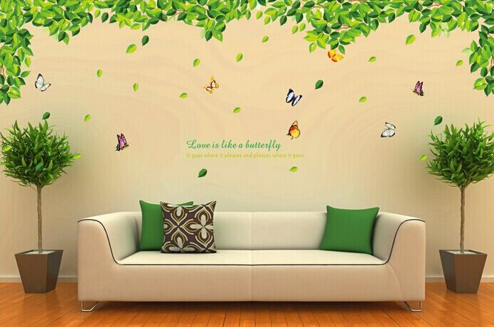 extra large 300cm 110cm creative green leaves butterfly. Black Bedroom Furniture Sets. Home Design Ideas