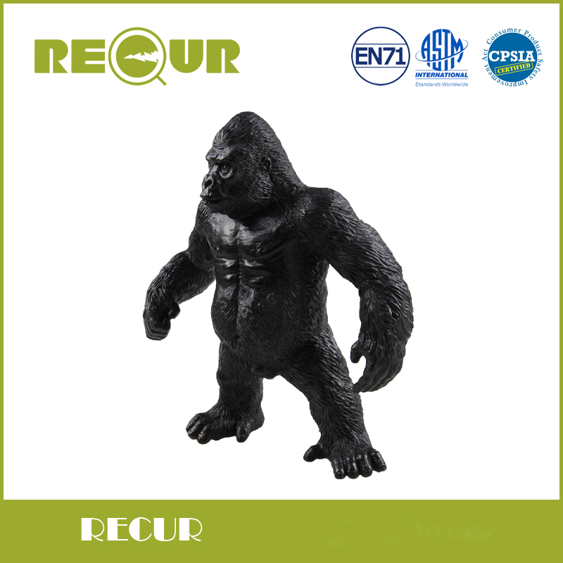 Recur Toys High Quality Simulation Gorilla Model Hand Painted Soft PVC Action Figures Wild Animal Toy Collection Gift For Boys lps pet shop toys rare black little cat blue eyes animal models patrulla canina action figures kids toys gift cat free shipping