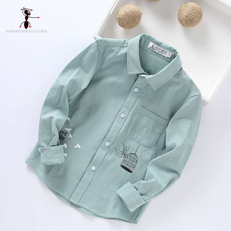 Kung Fu Ant 2017 New Arrival Character Cotton Casual Shirts Boy Blouses Blusas Bordadas Long Sleeve 175067