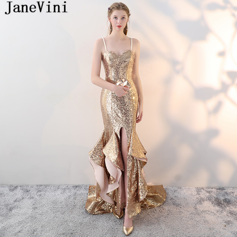 JaneVini Arabic Sparkly Gold Sequins   Bridesmaid     Dresses   Mermaid Sweep Train Backless Formal Prom   Dress   2018 African Party Gowns