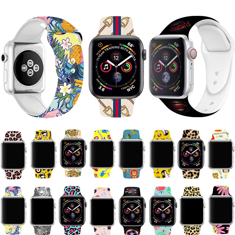 Silicone Cartoon Strap For Apple Watch Band 4 44/40mm Sports Rubber Printing Wrist Bracelet Accessories For IWatch 3/2/1 38/42mm