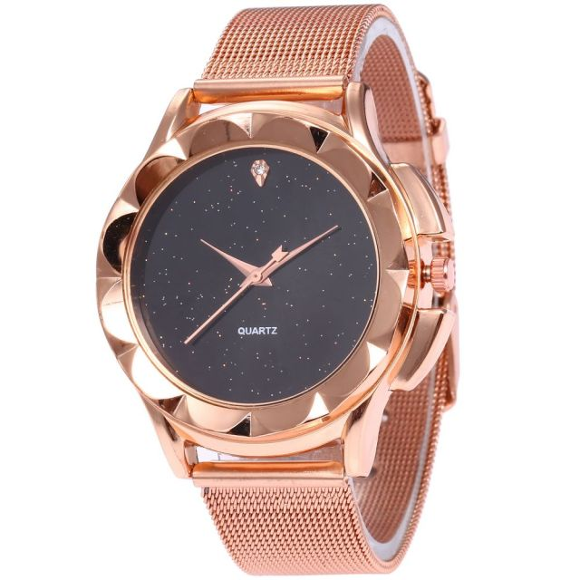 2018 Hot New Fashion Stainless Steel Rose Gold Quartz Watch Luxury Women Simple