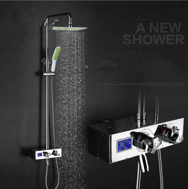 Digitale douche set met temperatuur display met douche tijd ...