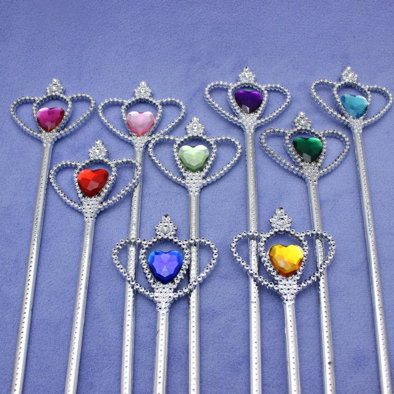 20db / tétel Új Disny Princess Party jelmez Ezüst bevonat színes akril gyémánt mágikus tündérrudak pálca játékok Party Faovrs