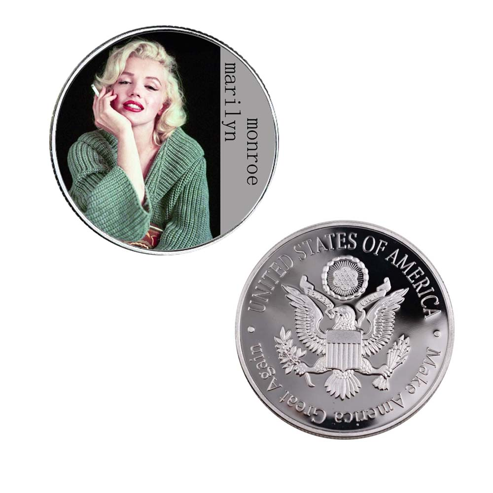 4 Pcs set Festival Souvenir Gifts 999 9 Silver Plated Marilyn Monroe Challenge Coin Coins Collectibles Home Decoration in Non currency Coins from Home Garden