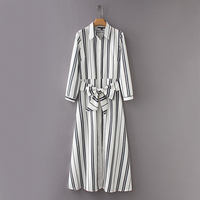 2018 women cotton and linen long dress Striped belt Bow 3/4 sleeve Fit and flare Turn down collar Ankle length drop ship white