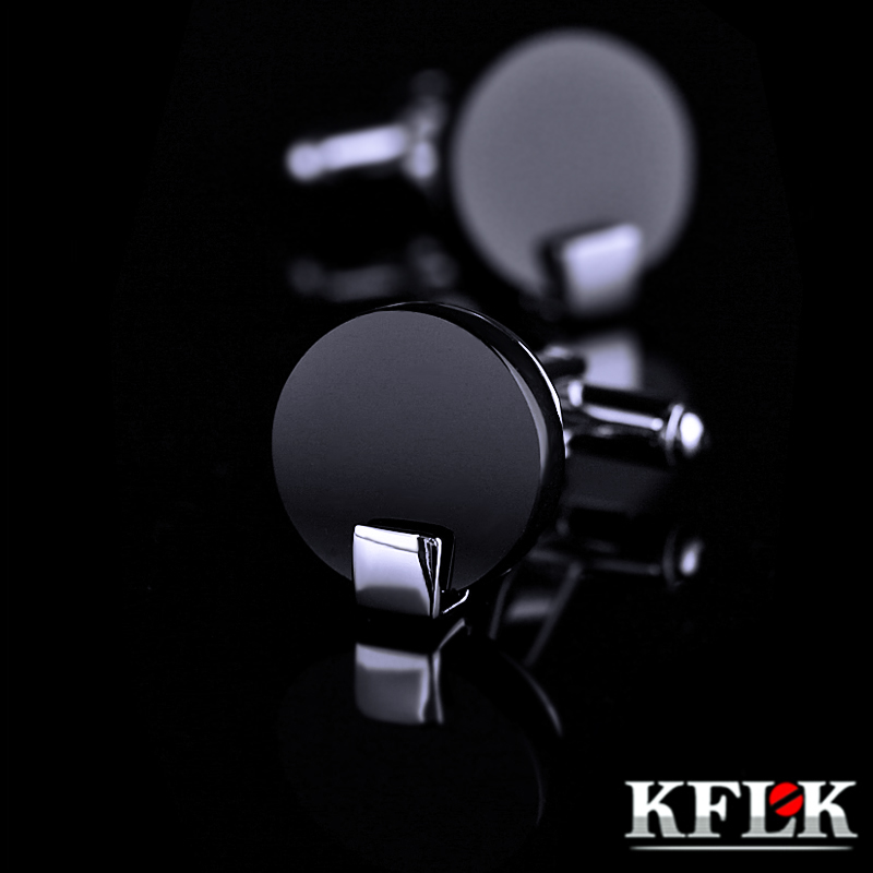 KFLK Jewelry Shirt Cufflink For Mens Brand Black Cuff Link Wholesale Button High Quality Round Luxury Wedding Male Free Shipping