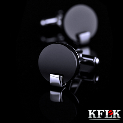 Kflk jóias camisa abotoaduras para homens marca black manguito link botão atacado de alta qualidade redonda luxo casamento masculino frete grátis