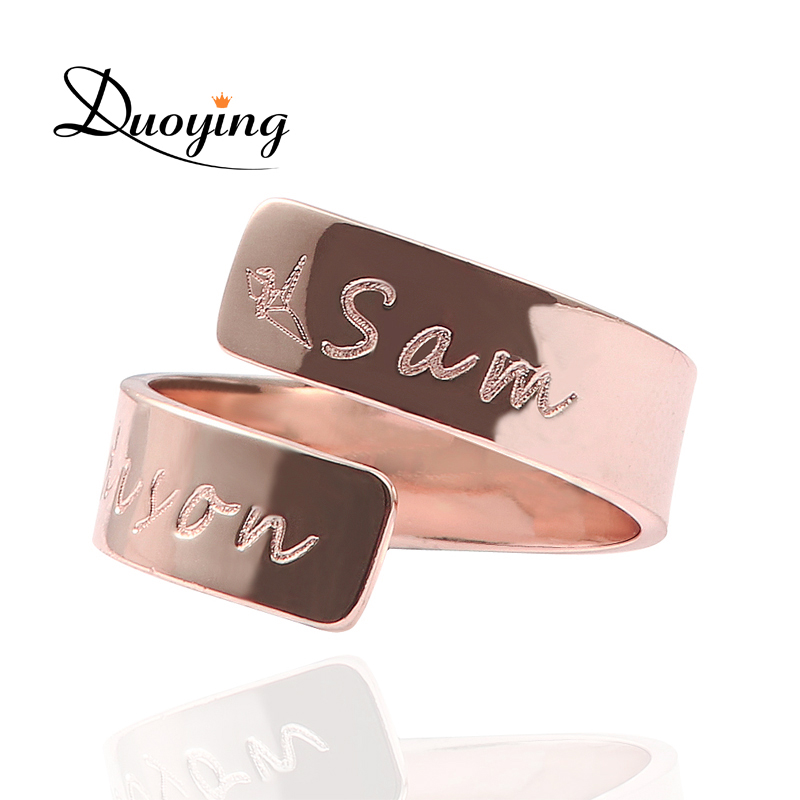 DUOYING Custom Name Ring Rose Gold Color Love Family Personalized Engraved Ring Women Gr ...