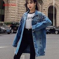 Fashion Loose Beading Hole Washed Denim Jeans Jacket Women Chaqueta Mujer Streetwear Autumn Long Coat Female Embellished