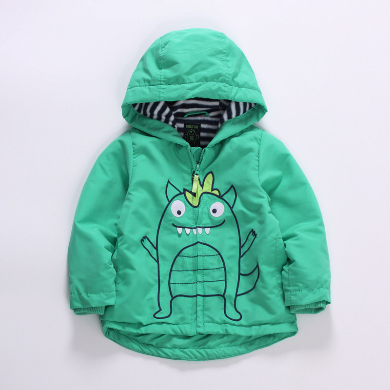 baby boys spring/autumn hooded windproof jacket ,toddler spring jacket, stereo monster jacket, fleece lining, size 86 to 98