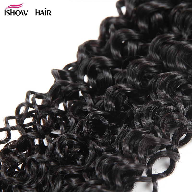 Ishow Brazilian Curly Hair 4 Bundles With Closure 4*4 Free Part 100% Human Hair Bundles With Closure Non Remy Hair Lace Closure