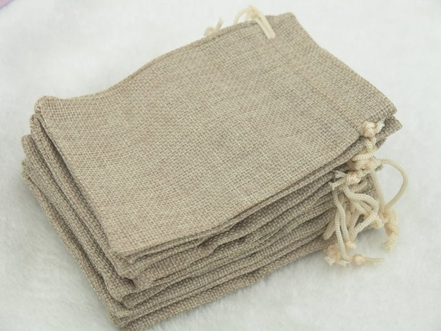 100pcs 12.5x17 Khaki Hemp/Hessian Bags, Jewelry Pouches, Wedding Favors, Jewelry Packing, Gift Bags--HB121707
