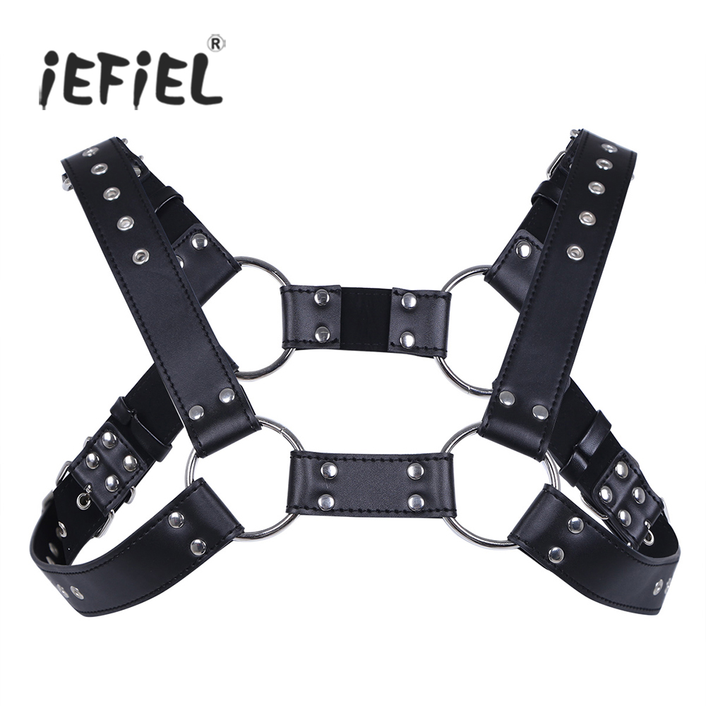 iEFiEL Sexy Men Lingerie Faux Leather Adjustable Body Chest Harness Bondage Costume with Buckles for Men's Clothing Accessories