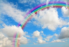 Laeacco Rainbow Backdrops For Photography Cloudy Blue Sky Birthday Party Child Portrait Photo Backgrounds Photocall Studio