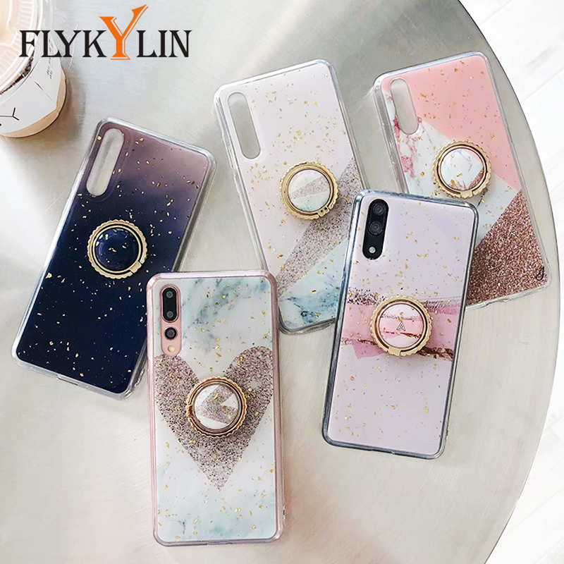 FLYKYLIN Glitter Marble Case For <font><b>Samsung</b></font> Galaxy S10 Plus S10e S9 Note 9 A9 <font><b>A7</b></font> <font><b>2018</b></font> Cover on Soft TPU Silicone Coque Ring Stand image