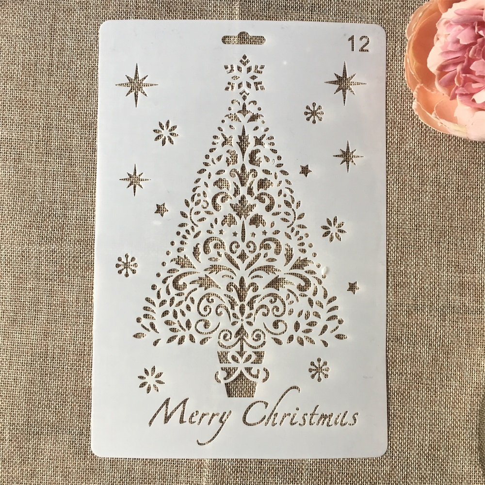 Hot 26cm Christmas Tree DIY Craft Layering Stencils Wall Painting Scrapbooking Stamping Embossing Album Card Template